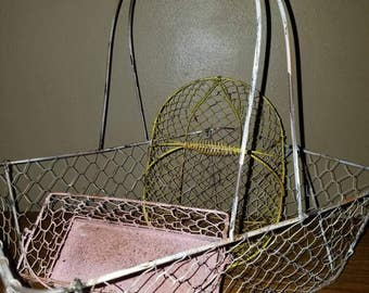 Set of shabby wire baskets.