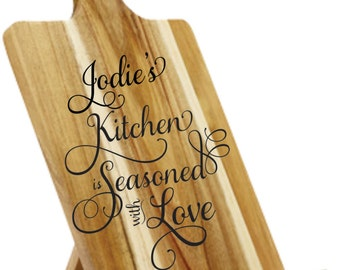 Personalised Tablet Holder - Engraved and Painted -  Jodie's (Personalised) Kitchen Is Seasoned With Love - Great For Mother's Day