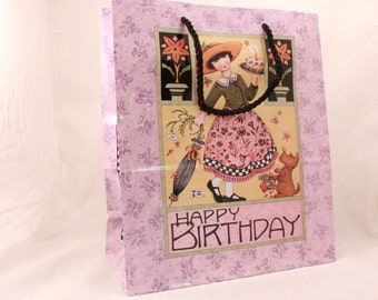 MARY ENGELBREIT Gift Bag 12.5x10.5x5 by Sunrise. Happy Birthday.