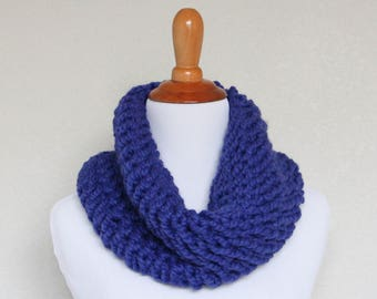 READY TO SHIP - Chunky Knit Cowl, Scarf, Oxygen Cowl, Cobalt Cowl
