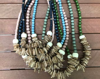Chip and wood bead necklace