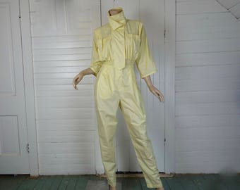 Jumpsuit of the Future in Pastel Yellow- 1980s / 80s New Wave- Space / Astronaut / Rainbow Bright / Futuristic / Sci-Fi