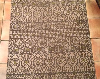 Vintage Woven Rug, Screen Printed Design, Art Deco Design Rug, Grey And  Beige