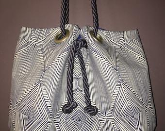 Royal Blue and White Geometric Squash Blossom Bag