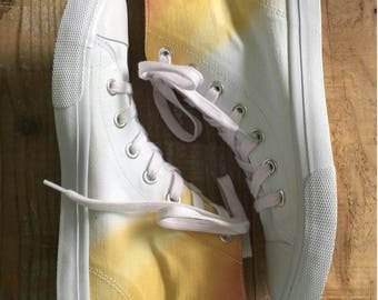 Hand Dyed, US Women's Size 7 Canvas High Top Sneakers
