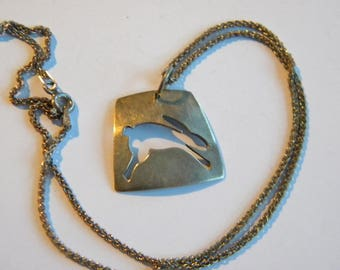 vintage pendant RABBIT silver 925 ~ on silver chain ~ A2558