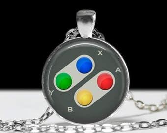 "Super Nintendo Necklace - Nintendo Controller Jewelry - Gamer Girl, Nerd, Geek, Geekery, Dork Pride! Jewelry - 1"" Silver & Glass Pendant"