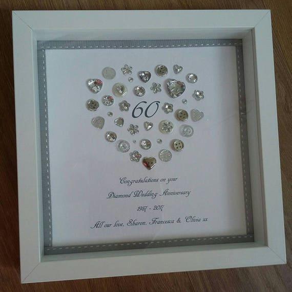 Personalised heart diamond th anniversary frame