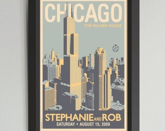 Chicago Downtown Personalized Framed Wedding Art (Large)