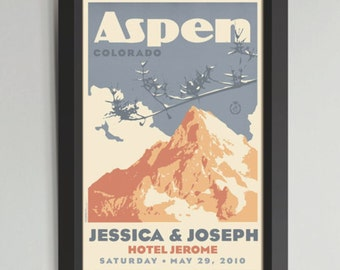 Mountain Personalized Framed Wedding Art (Medium)