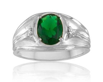 Men's Emerald Ring, Promise Ring for Men Oval Green Emerald Ring, Sterling Silver Ring, Green Gemstone Diamond Ring for Men Jewelry Gift