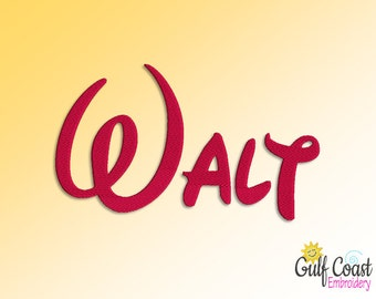 Walt Script Machine Embroidery Font Monogram Alphabet, Walt BX, Walt Pes, Walt Jef, Walt Dst, Walt Hus, Walt Vip, Walt Vp3, Etc.  - 4 Sizes