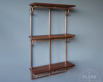 Copper Pipe Shelving unit in an Industrial / Urban / Vintage style. 3 Tier Hand Crafted Shelves with African Sapele Hardwood.