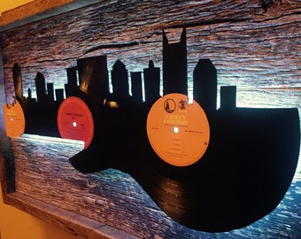 Nashville Guitar Skyline Record LP Barnwood Music City Wall Art