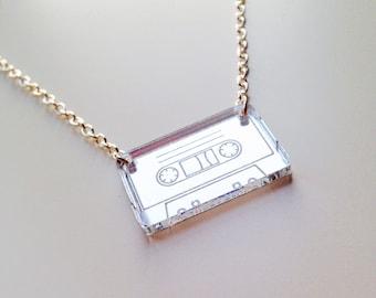 Tape | Cassette | Retro | Old School | Silver Mirrored | Laser Cut | Acrylic | Necklace