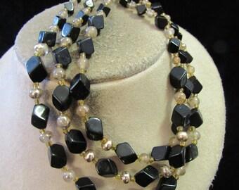 Vintage Black Glass Beaded Necklace-Broken-For Crafting