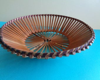 Vintage Mid Century bamboo Tiki  slated wood fruit/bread basket. Kitchenalia