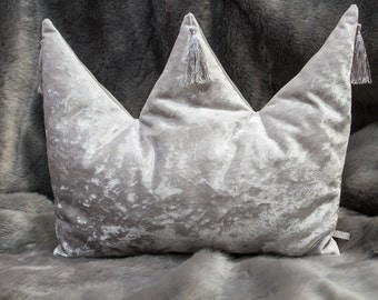 Light grey glossy decorative CROWN shaped pillow
