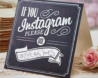 Instagram party signs - birthday party - wedding  hash tag # signs