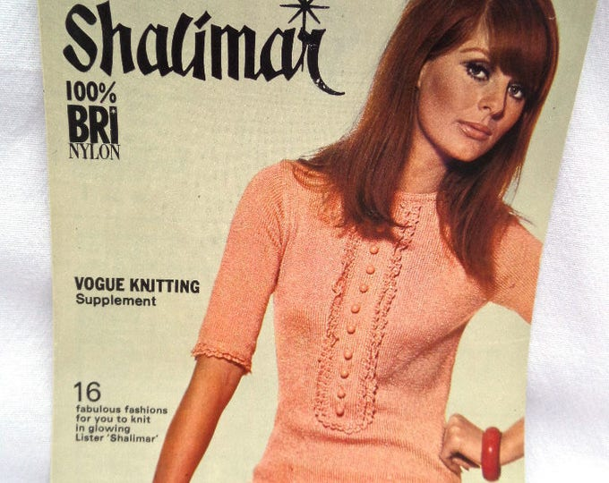 Lister Shalimar Vogue Knitting Supplement 1960's Original Vintage, 16 Fabulous Fashions to knit in Lister Shalimar, Mary Quant Era,