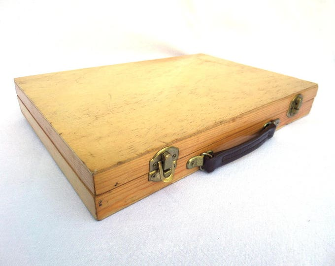 "Wooden Painters Box or Artists Box, Leather Handle, Smaller Size 12"" x 8.25"" x 1.75"", Vintage Mid Century, Made in England, Circa 1970"
