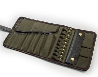 Universal Tool Roll / Mens Tool Roll / Tool bag / motorcycle Tool roll / travel Bag twisting / Mens gift / Green waxed canvas leather