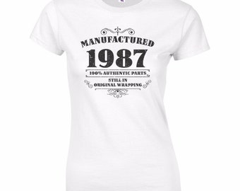 Women's 30th Birthday T Shirt Funny Manufactured 1987 30th Birthday Gifts *GIFT BOXED free of charge!*