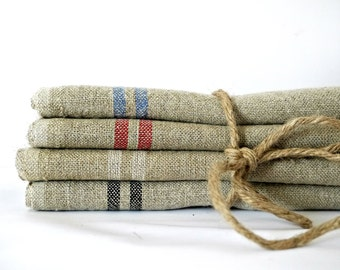 French vintage linen napkins dishtowel dishcloth torchon tea towels primitive country french linen rustic wedding napkins