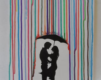 Couple in Watercolor Rain Painted Canvas Wall Hangings / Wall Art 11 X 14