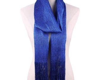 Glitter Fringe Scarf in Royal Blue