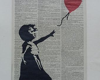 Banksy Print No.329, banksy art, banksy poster, wedding gift, dorm decor, banksy balloon girl, banksy decal, banksy wall decal