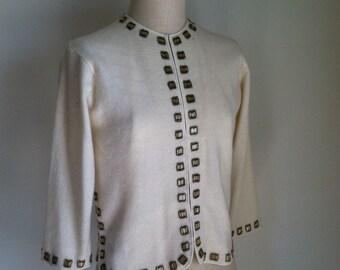 Vintage 1960s Ivory Beaded Cardigan Sweater