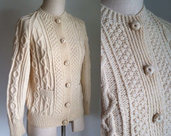 Vintage Irish Cable Knit Cardigan Sweater