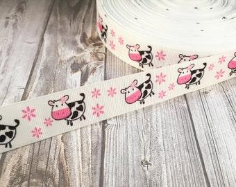 "Cute cow ribbon - 7/8"" grosgrain ribbon - Happy little cows - Crafting ribbon - Cow craft supply - Flower ribbon - pink black white - cute"