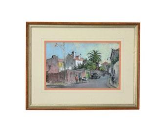 1969 Frank Beatty Gouache Painting Street Scene Cascais Portgual