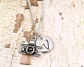 Photographer necklace, Camera necklace, hand stamped disc, photo buff, Go Pro lover, You Tuber, Blogger, videographer