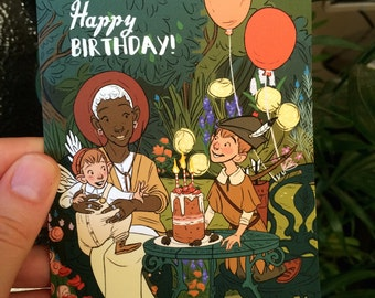 Birthday Card - 14 x 10cm Blank Inside with Brown Recycled Envelope