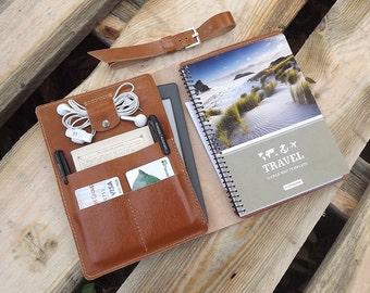 "Leather Portfolio iPad Mini Air Pro 9.7"" iPad Case\Leather Notepad Holder\moleskin cover\Cover notebook Moleskin\А5 travel organiser ipad"