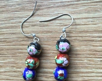 Flower Beaded Dangly Earrings