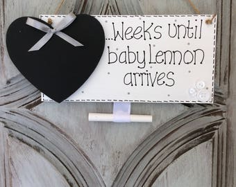 Baby countdown plaque baby countdown sign Baby girl boy countdown decor - girl boy baby countdown Baby shower gift Pregnancy countdown sign