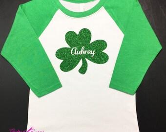 Girl's St. Patrick's Day Shirt, Sparkling Shamrock, St. Paddy's Day, Kids, Girls St. Patricks Day Shirt, GirlsSt. Paddy's Day Shirt