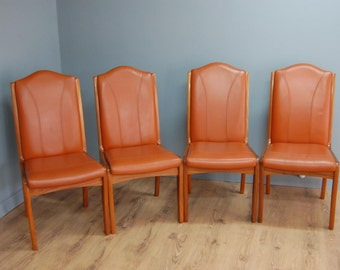 Fab! Four Retro Teak High Backed Tan Leather Dining Chairs