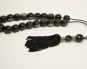 Obsidian with golden glow-Handmade-Worry beads-Meander-Greek kompoloi-Greek coulture-Gift idea-Men's accessories