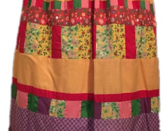 Vintage patchwork quilted maxi skirt. Multi-patterned