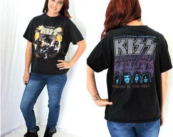 Vintage 70s rare KISS concert T shirt   1970s Kiss Hotter than Hell world tour Tee shirt tour rock concert tee SunnyBohoVintage
