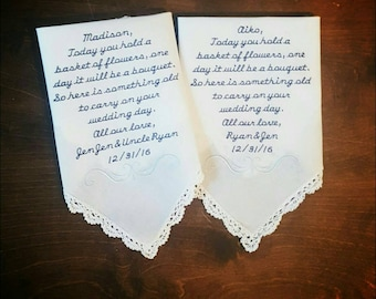 Flower girl handkerchief set of 2 CUSTOMIZABLE