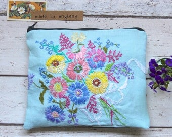 Hand Embroidered Floral Large Zip Pouch