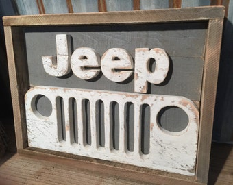 Rustic Pallet Jeep Decor | Jeep Sign | Wood Sign | Jeep Grill | Wrangler | Jeep Art o|||||||o | pallet cut out