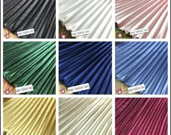 Electro-optic clothing pleated fabric solid large striped accordion silk satin crushed through dress fabric