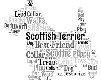 A4 or 5x7 Personalised Scottish Terrier Scotty Dog Word Art Print - Pet Memorial* Gift Idea  * Digital File Also Available